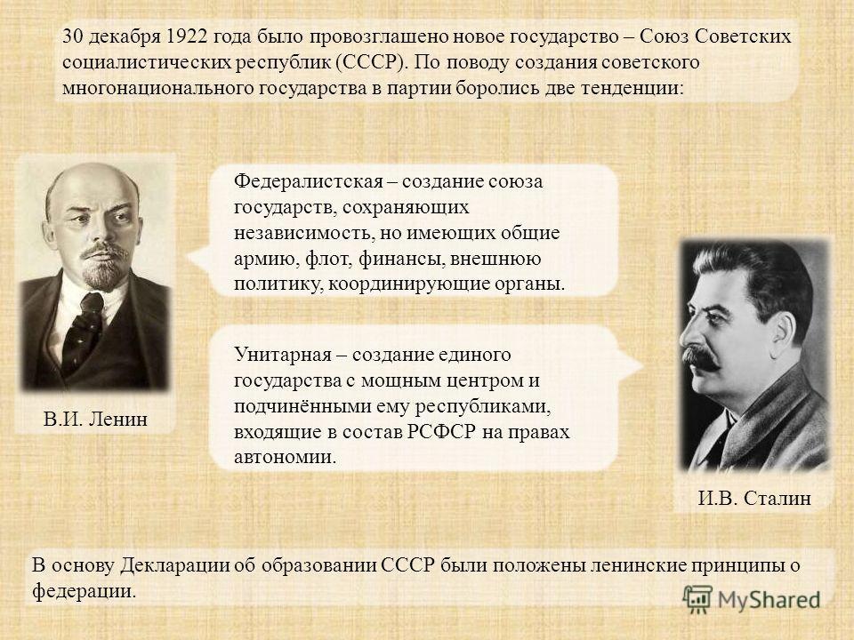 30 декабря 1922 года было провозглашено новое государство – Союз Советских социалистических республик (СССР). По поводу создания советского многонационального государства в партии боролись две тенденции: Федералистская – создание союза государств, со