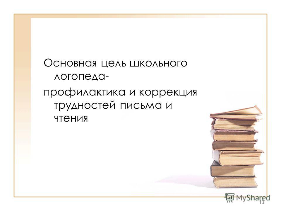 Основная цель школьного логопеда- профилактика и коррекция трудностей письма и чтения 13