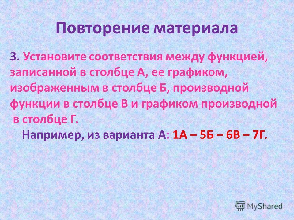 Повторение материала 3. Установите соответствия между функцией, записанной в столбце А, ее графиком, изображенным в столбце Б, производной функции в столбце В и графиком производной в столбце Г. Например, из варианта А: 1А – 5Б – 6В – 7Г.