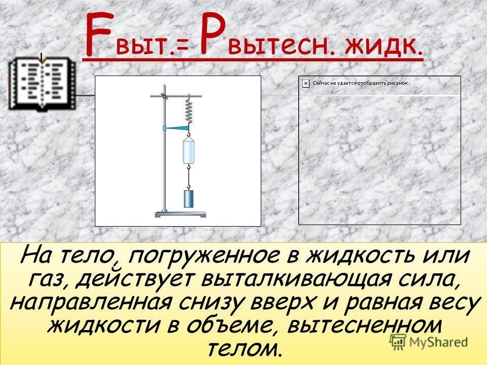 На тело, погруженное в жидкость или газ, действует выталкивающая сила, направленная снизу вверх и равная весу жидкости в объеме, вытесненном телом. На тело, погруженное в жидкость или газ, действует выталкивающая сила, направленная снизу вверх и равн