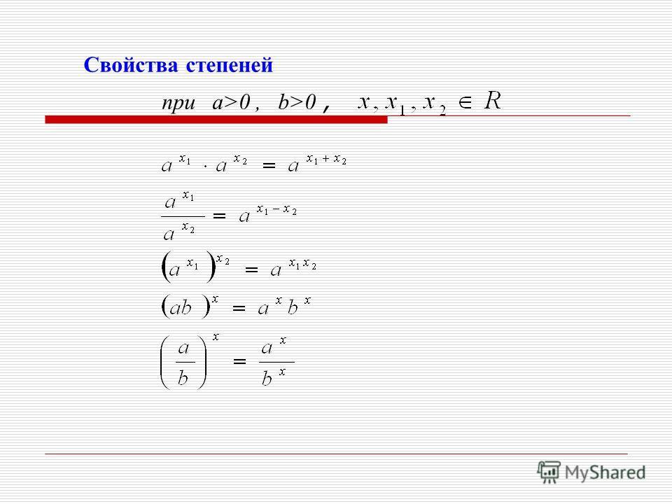 Свойства степеней при a>0, b>0,