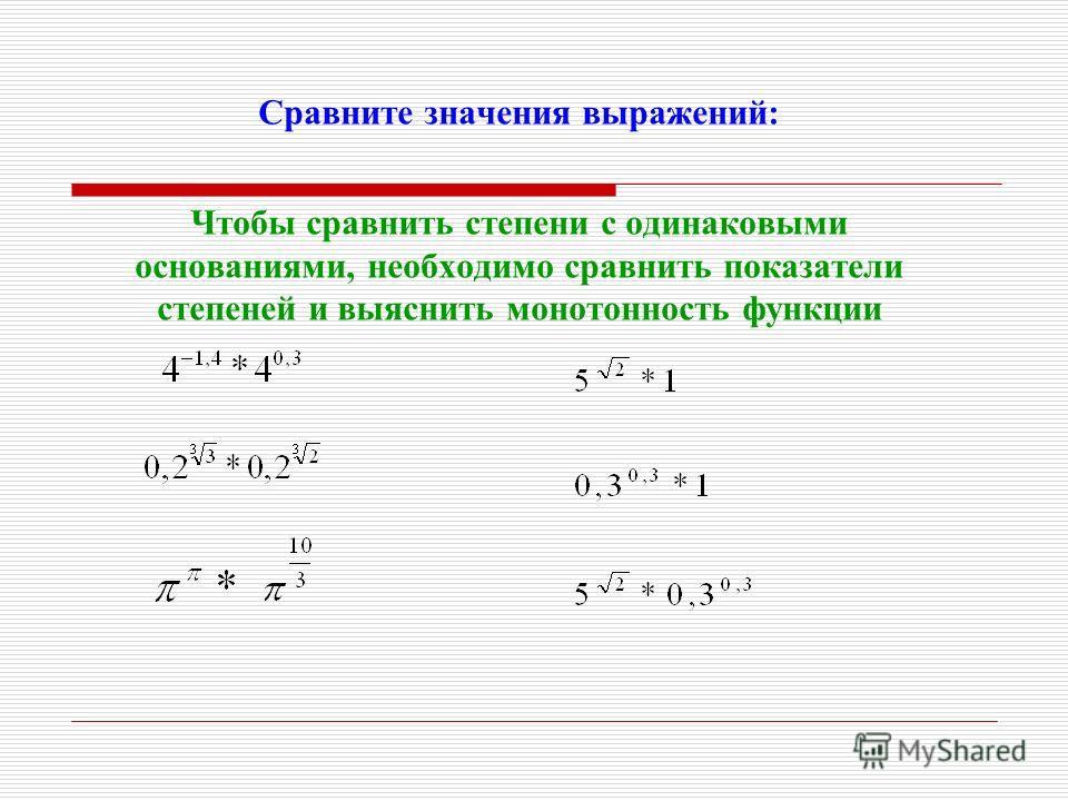 Сравните значения выражений: Чтобы сравнить степени с одинаковыми основаниями, необходимо сравнить показатели степеней и выяснить монотонность функции