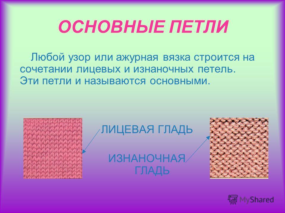 ОСНОВНЫЕ ПЕТЛИ Любой узор или ажурная вязка строится на сочетании лицевых и изнаночных петель. Эти петли и называются основными. ЛИЦЕВАЯ ГЛАДЬ ИЗНАНОЧНАЯ ГЛАДЬ