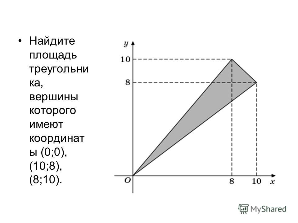Найдите площадь треугольни ка, вершины которого имеют координат ы (0;0), (10;8), (8;10).