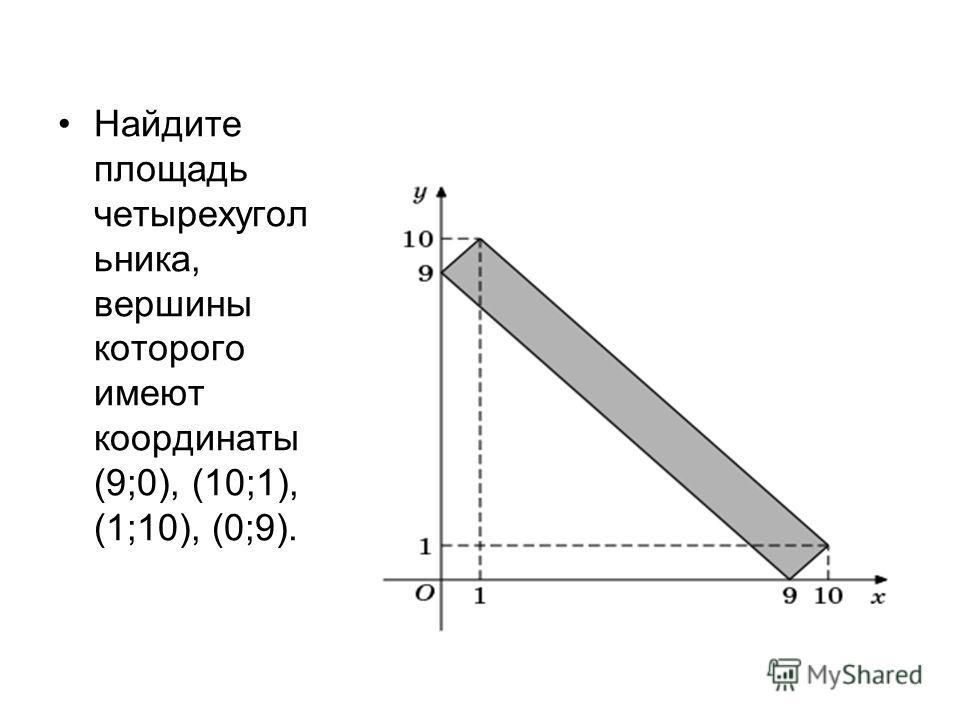 Найдите площадь четырехугол ьника, вершины которого имеют координаты (9;0), (10;1), (1;10), (0;9).