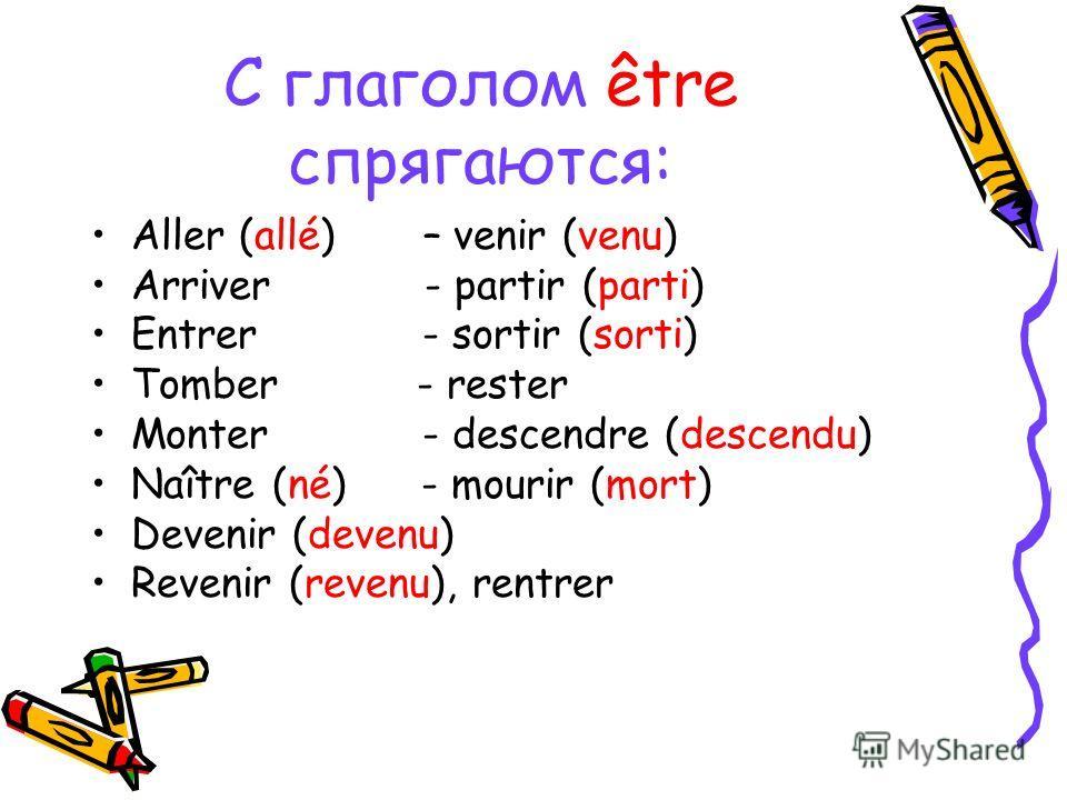С глаголом être спрягаются: Aller (allé) – venir (venu) Arriver - partir (parti) Entrer - sortir (sorti) Tomber - rester Monter - descendre (descendu) Naître (né) - mourir (mort) Devenir (devenu) Revenir (revenu), rentrer