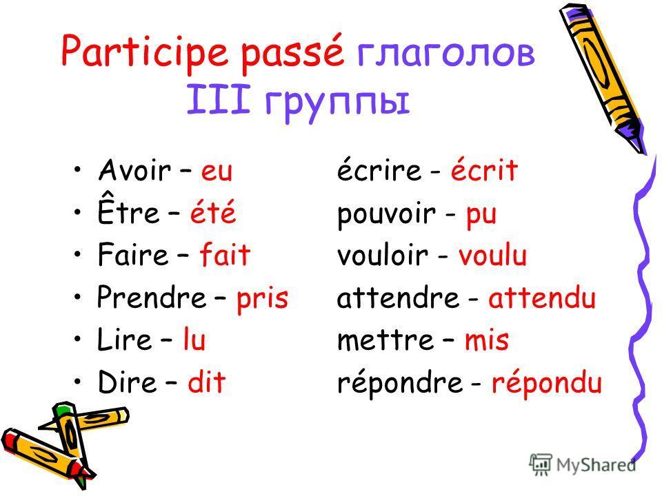 Participe passé глаголов III группы Avoir – euécrire - écrit Être – étépouvoir - pu Faire – faitvouloir - voulu Prendre – prisattendre - attendu Lire – lumettre – mis Dire – ditrépondre - répondu