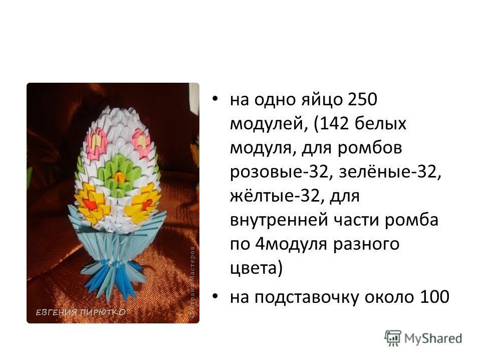 на одно яйцо 250 модулей, (142 белых модуля, для ромбов розовые-32, зелёные-32, жёлтые-32, для внутренней части ромба по 4модуля разного цвета) на подставочку около 100
