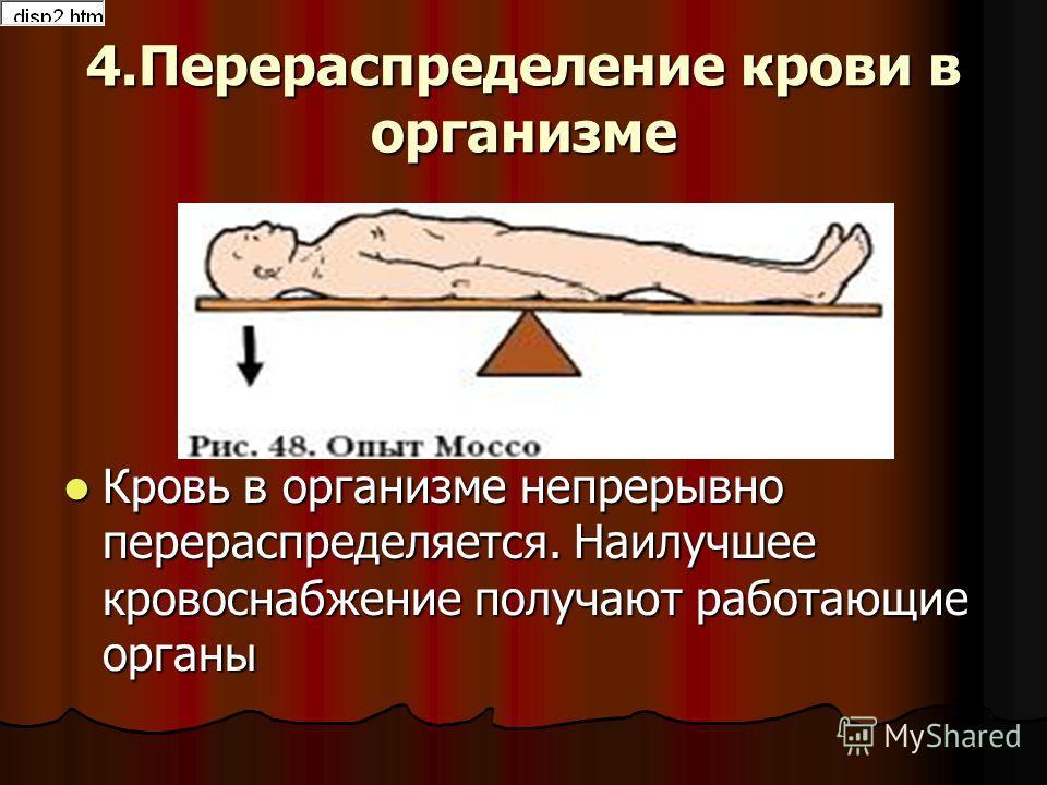4.Перераспределение крови в организме Кровь в организме непрерывно перераспределяется. Наилучшее кровоснабжение получают работающие органы Кровь в организме непрерывно перераспределяется. Наилучшее кровоснабжение получают работающие органы