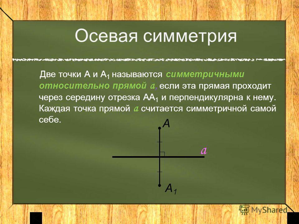 Осевая симметрия Две точки А и А 1 называются симметричными относительно прямой а, если эта прямая проходит через середину отрезка АА 1 и перпендикулярна к нему. Каждая точка прямой а считается симметричной самой себе. А А1А1 а