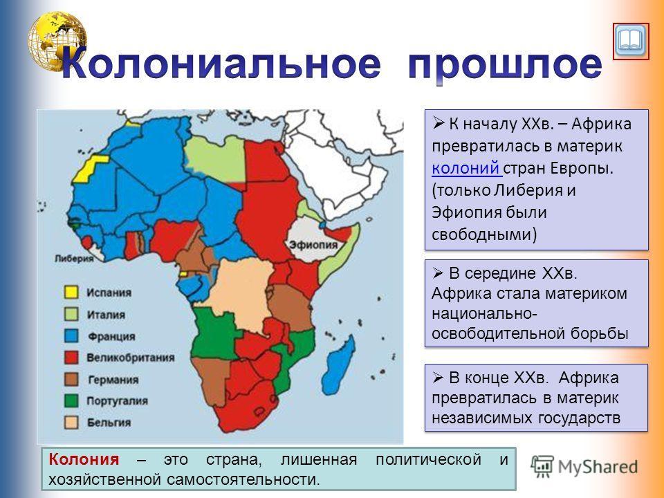 К началу XXв. – Африка превратилась в материк колоний стран Европы. (только Либерия и Эфиопия были свободными) В середине XXв. Африка стала материком национально- освободительной борьбы В конце XXв. Африка превратилась в материк независимых государст
