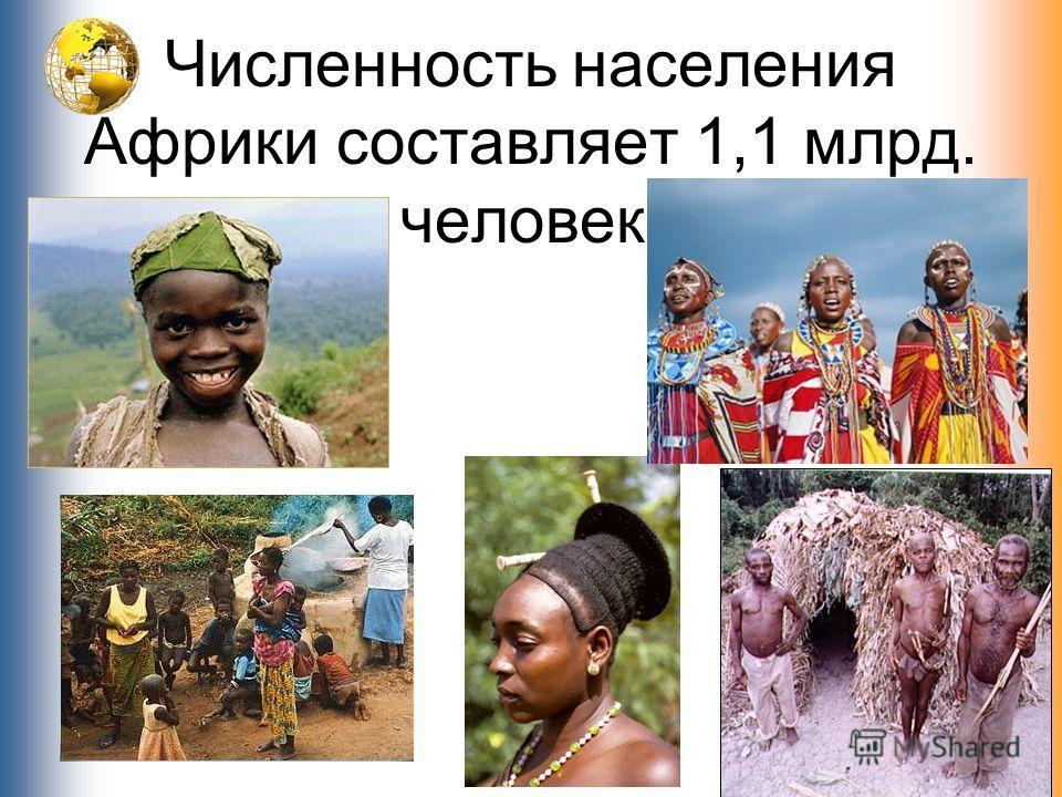 Численность населения Африки составляет 1,1 млрд. человек.