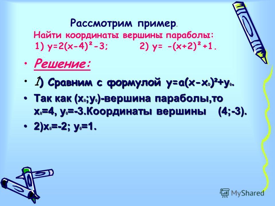 Рассмотрим пример. Найти координаты вершины параболы: 1) у=2(х-4)²-3; 2) у= -(х+2)²+1. Решение: ) Сравним с формулой у=а(х-х 0 ) ²+у 0.1 ) Сравним с формулой у=а(х-х 0 ) ²+у 0. Так как (х 0 ;у 0 )-вершина параболы,то х 0 =4, у 0 =-3.Координаты вершин