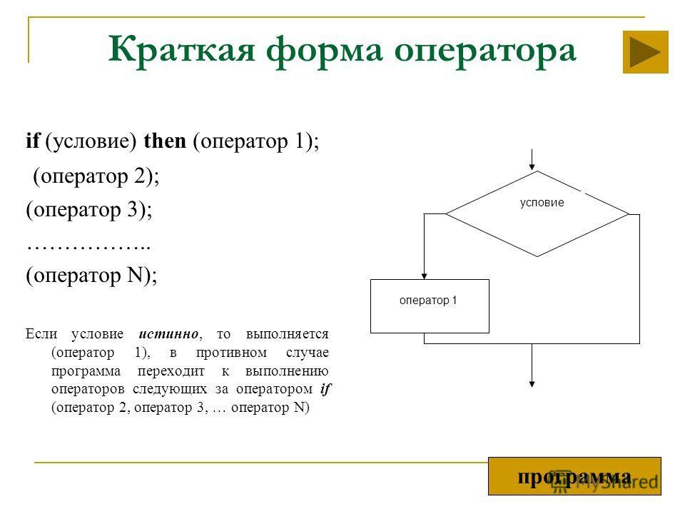 Краткая форма оператора if (условие) then (оператор 1); (оператор 2); (оператор 3); …………….. (оператор N); Если условие истинно, то выполняется (оператор 1), в противном случае программа переходит к выполнению операторов следующих за оператором if (оп