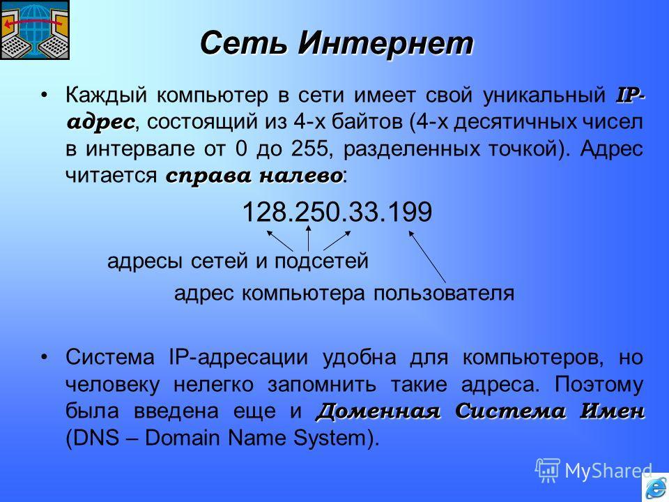 Сеть Интернет IP- адрес справа налевоКаждый компьютер в сети имеет свой уникальный IP- адрес, состоящий из 4-х байтов (4-х десятичных чисел в интервале от 0 до 255, разделенных точкой). Адрес читается справа налево : 128.250.33.199 адресы сетей и под
