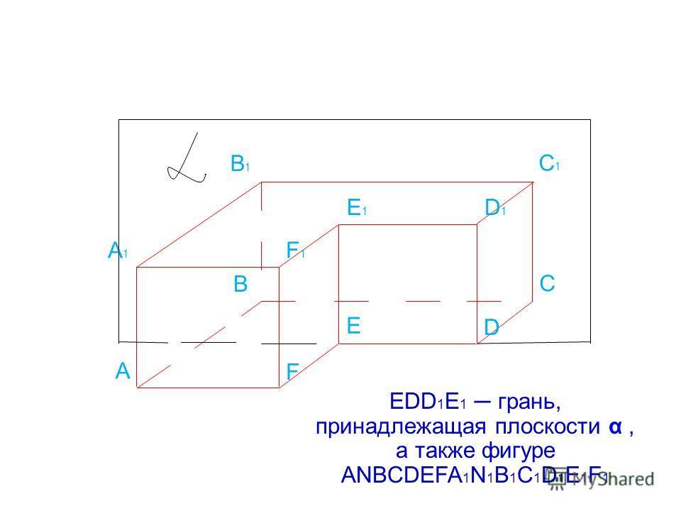 А B С D E F A1A1 B1B1 C1C1 D1D1 E1E1 F1F1 EDD 1 E 1 грань, принадлежащая плоскости α, а также фигуре ANBCDEFA 1 N 1 B 1 C 1 D 1 E 1 F 1