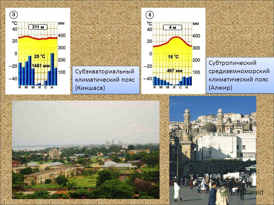 Субэкваториальный климатический пояс (Киншаса) Субэкваториальный климатический пояс (Киншаса) Субтропический средиземноморский климатический пояс (Алжир) Субтропический средиземноморский климатический пояс (Алжир)