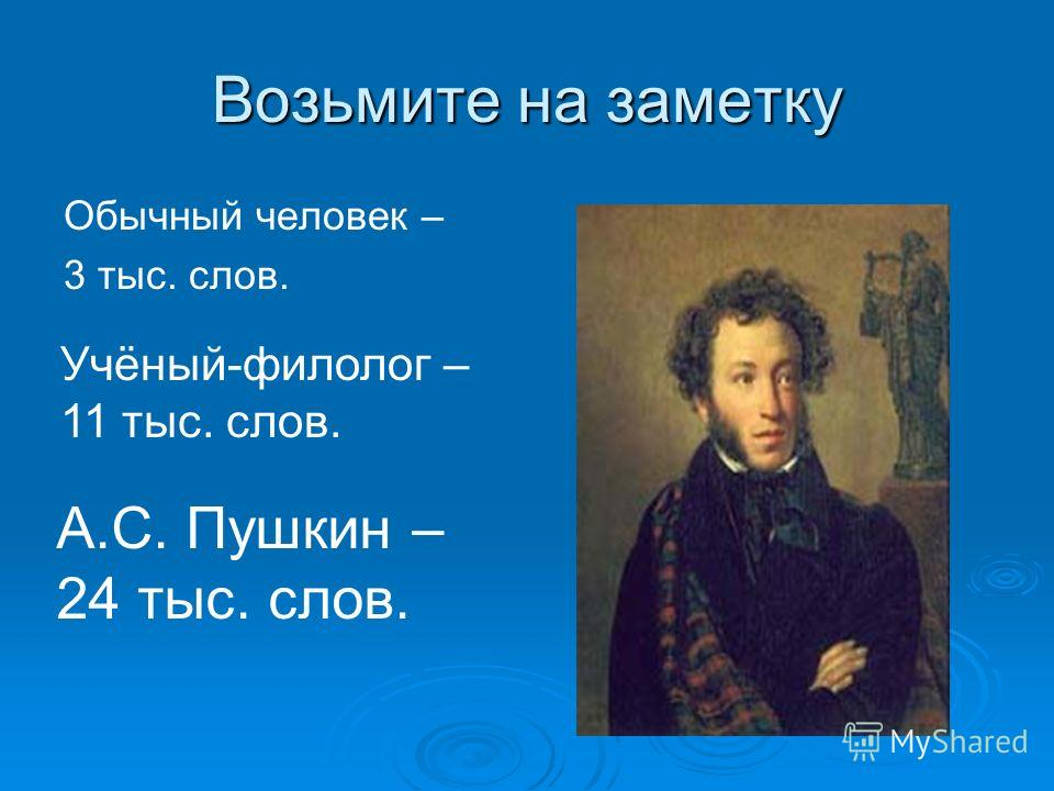 Возьмите на заметку Обычный человек – 3 тыс. слов. А.С. Пушкин – 24 тыс. слов. Учёный-филолог – 11 тыс. слов.
