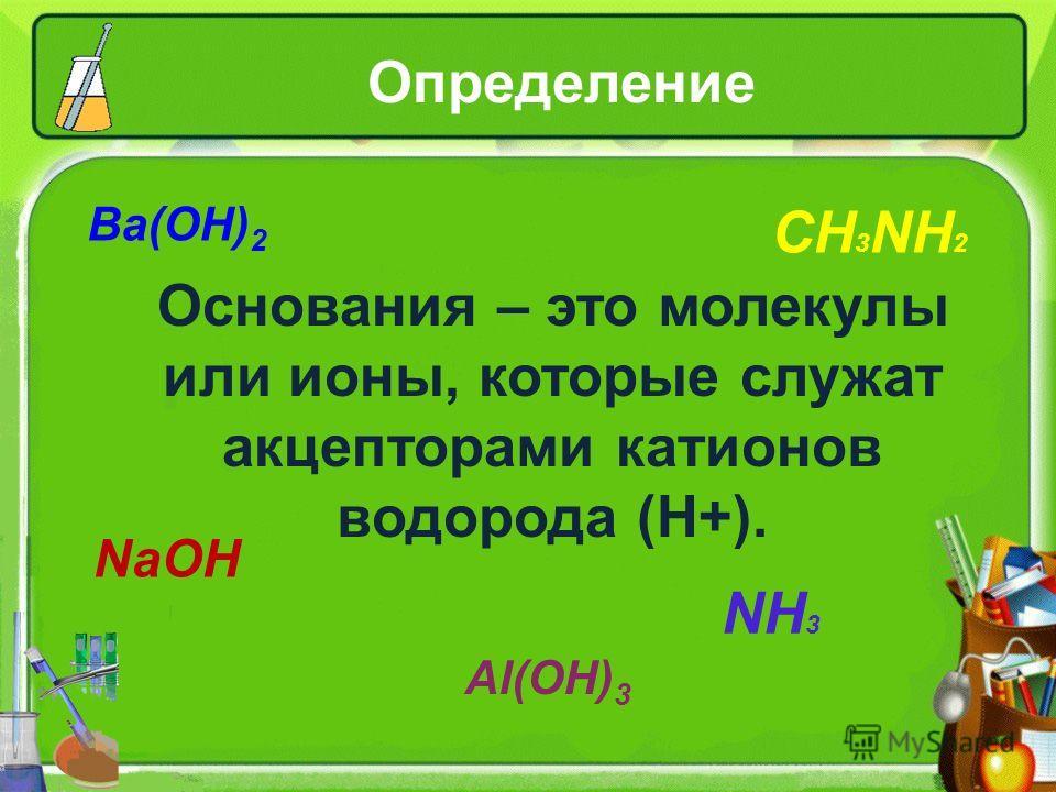 Определение Ba(OH) 2 CH 3 NH 2 NaOH Al(OH) 3 NH 3 Основания – это молекулы или ионы, которые служат акцепторами катионов водорода (Н+).