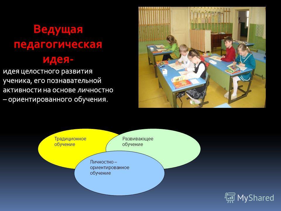 Ведущая педагогическая идея- идея целостного развития ученика, его познавательной активности на основе личностно – ориентированного обучения. Традиционное обучение Развивающее обучение Личностно – ориентированное обучение