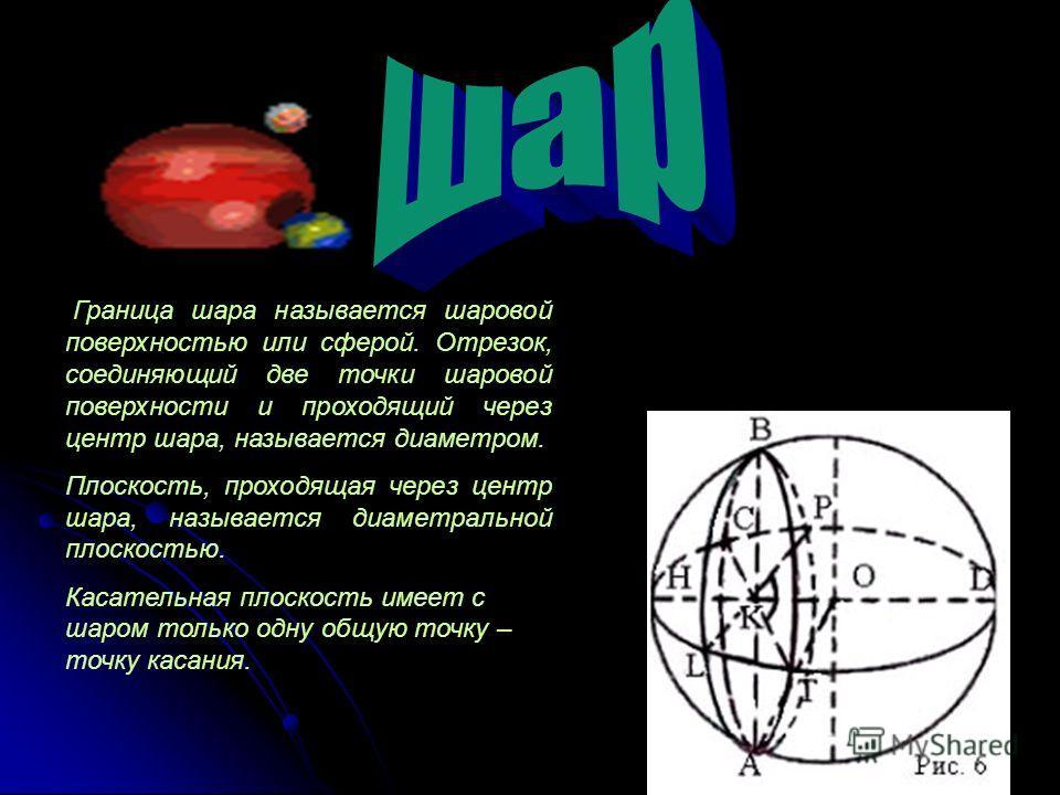 Граница шара называется шаровой поверхностью или сферой. Отрезок, соединяющий две точки шаровой поверхности и проходящий через центр шара, называется диаметром. Плоскость, проходящая через центр шара, называется диаметральной плоскостью. Касательная