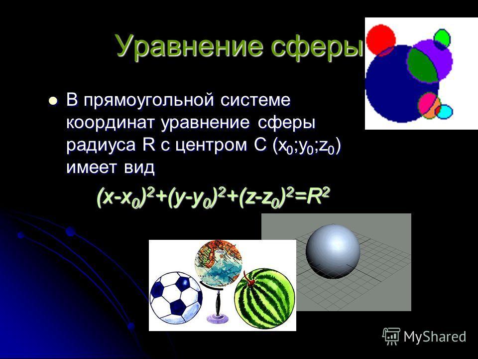 Уравнение сферы В прямоугольной системе координат уравнение сферы радиуса R с центром С (х0;у0;z0) имеет вид (х-х0)2+(у-у0)2+(z-z0)2=R2