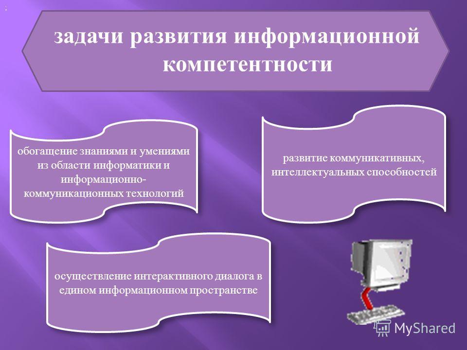 задачи развития информационной компетентности ; обогащение знаниями и умениями из области информатики и информационно- коммуникационных технологий развитие коммуникативных, интеллектуальных способностей осуществление интерактивного диалога в едином и