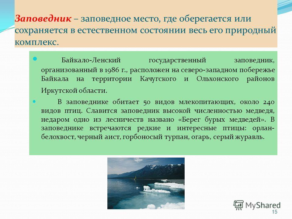 Заповедник – заповедное место, где оберегается или сохраняется в естественном состоянии весь его природный комплекс. Байкало-Ленский государственный заповедник, организованный в 1986 г., расположен на северо-западном побережье Байкала на территории К