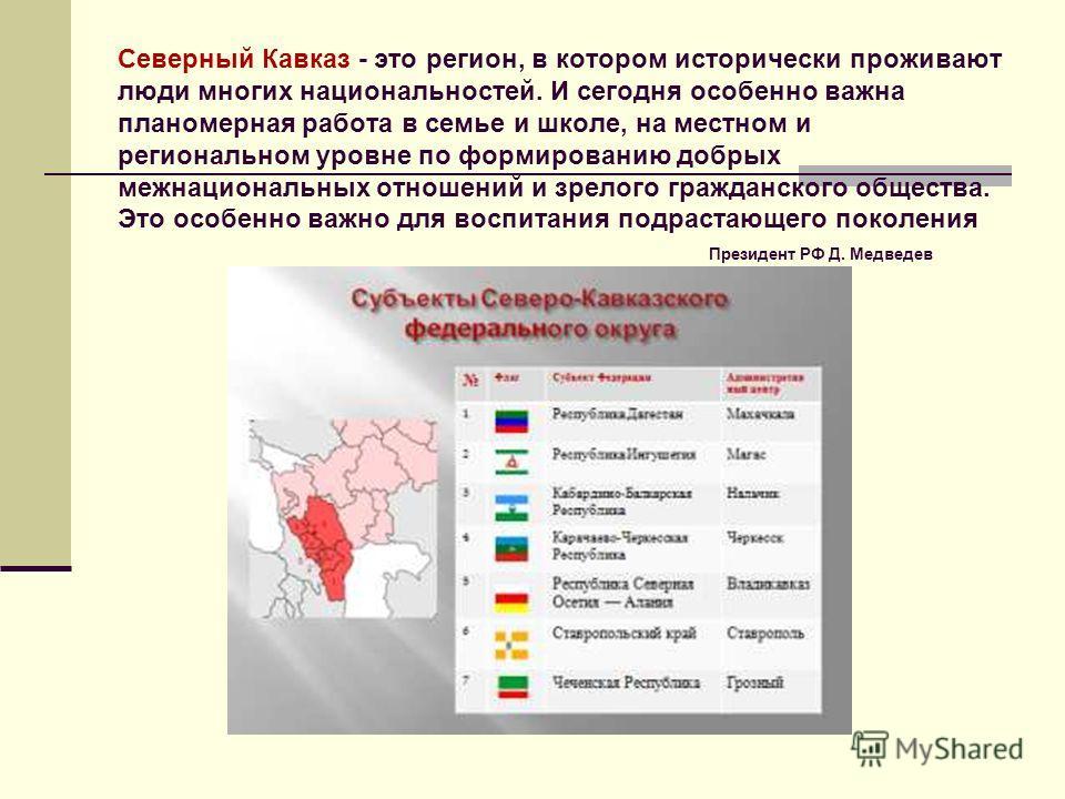 Северный Кавказ - это регион, в котором исторически проживают люди многих национальностей. И сегодня особенно важна планомерная работа в семье и школе, на местном и региональном уровне по формированию добрых межнациональных отношений и зрелого гражда