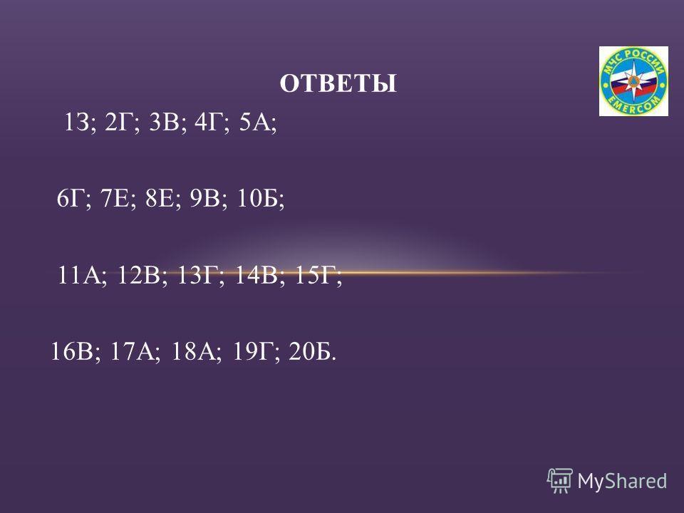 ОТВЕТЫ 1З; 2Г; 3В; 4Г; 5А; 6Г; 7Е; 8Е; 9В; 10Б; 11А; 12В; 13Г; 14В; 15Г; 16В; 17А; 18А; 19Г; 20Б.