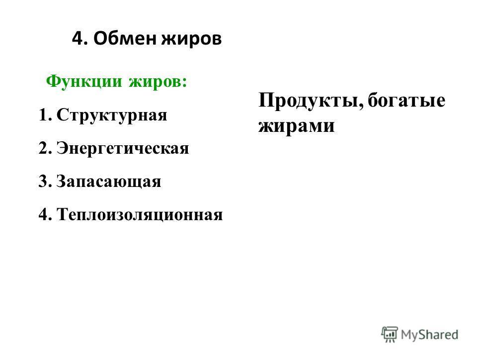 4. Обмен жиров Продукты, богатые жирами Функции жиров: 1.Структурная 2.Энергетическая 3.Запасающая 4.Теплоизоляционная