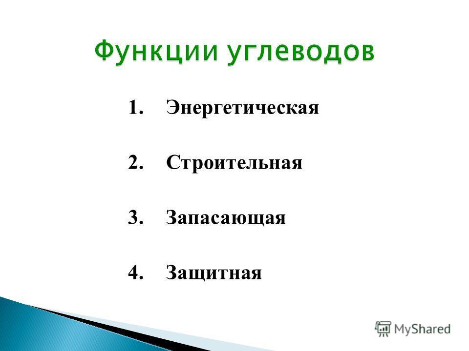 1.Энергетическая 2.Строительная 3.Запасающая 4.Защитная