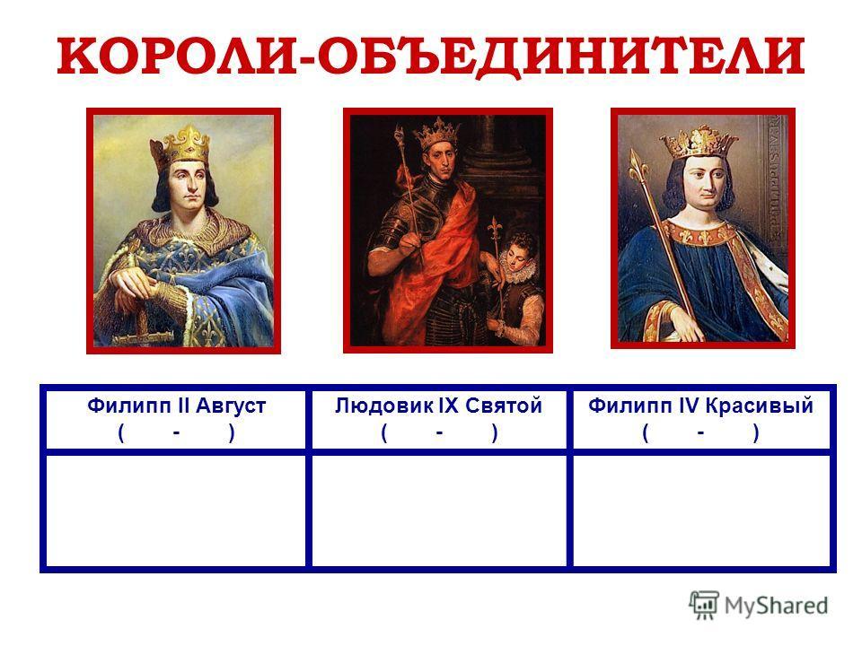 КОРОЛИ-ОБЪЕДИНИТЕЛИ Филипп II Август ( - ) Людовик IX Святой ( - ) Филипп IV Красивый ( - )