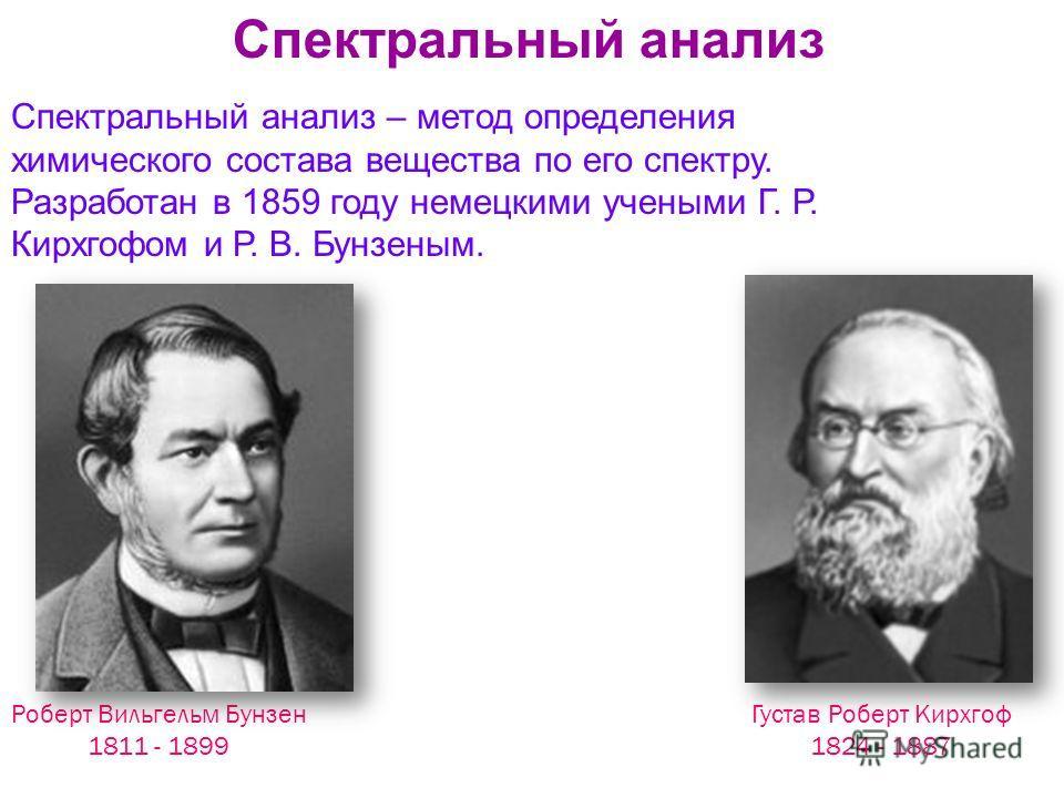 Густав Роберт Кирхгоф 1824 - 1887 Роберт Вильгельм Бунзен 1811 - 1899 Спектральный анализ – метод определения химического состава вещества по его спектру. Разработан в 1859 году немецкими учеными Г. Р. Кирхгофом и Р. В. Бунзеным. Спектральный анализ