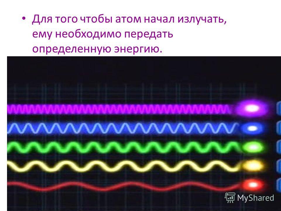 Для того чтобы атом начал излучать, ему необходимо передать определенную энергию.