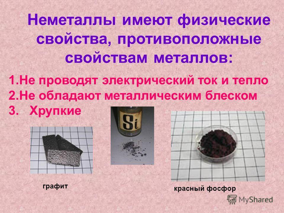 Неметаллы имеют физические свойства, противоположные свойствам металлов: 1.Не проводят электрический ток и тепло 2.Не обладают металлическим блеском 3. Хрупкие графит красный фосфор