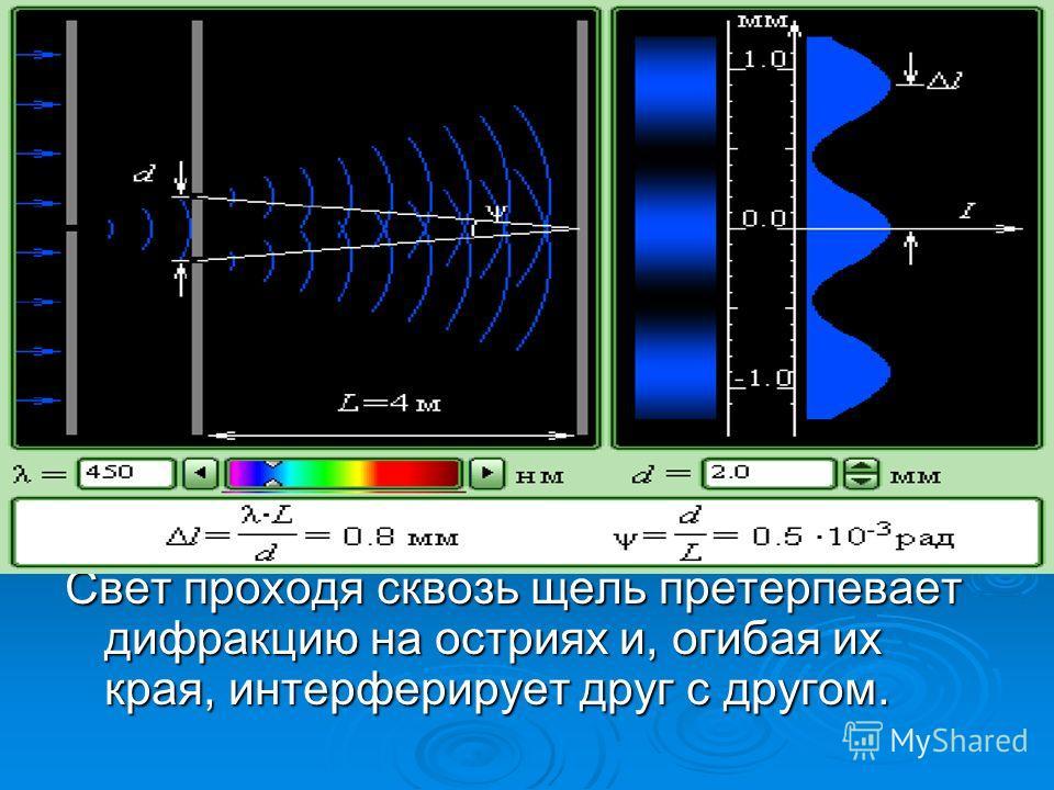 Свет проходя сквозь щель претерпевает дифракцию на остриях и, огибая их края, интерферирует друг с другом.