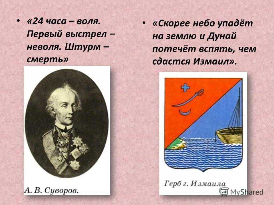 «24 часа – воля. Первый выстрел – неволя. Штурм – смерть» «Скорее небо упадёт на землю и Дунай потечёт вспять, чем сдастся Измаил».