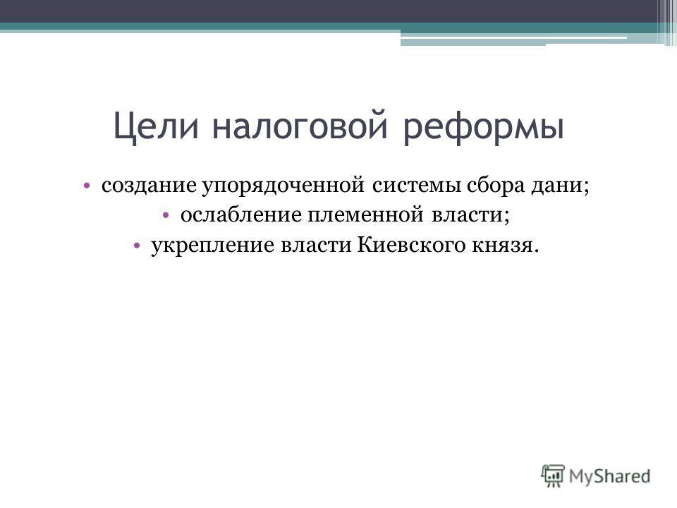 Цели налоговой реформы создание упорядоченной системы сбора дани; ослабление племенной власти; укрепление власти Киевского князя.