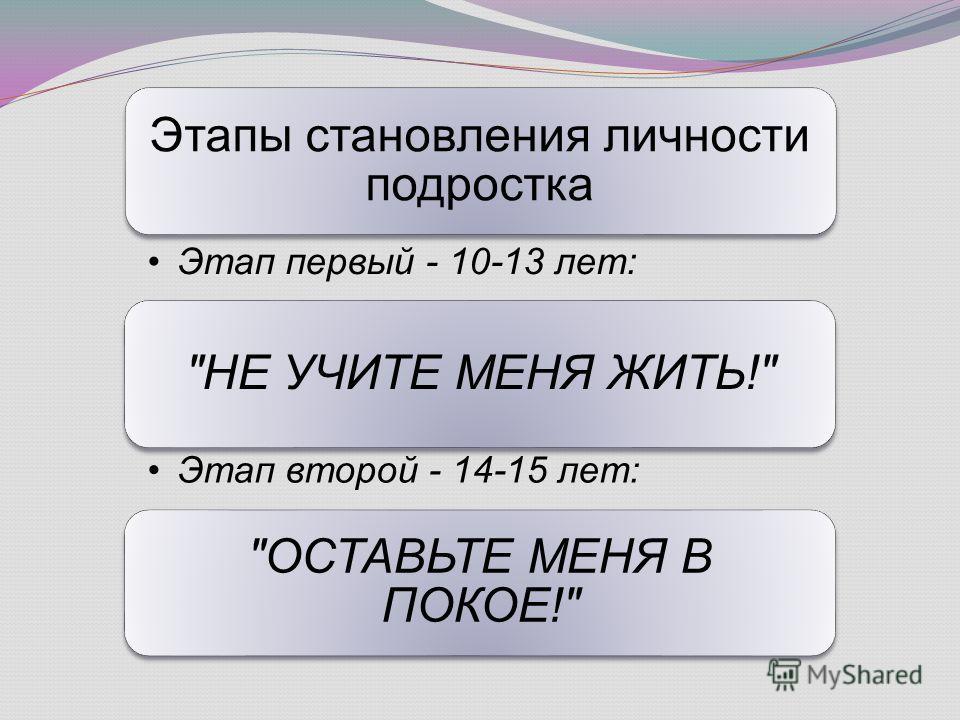 Этапы становления подростка как личности: Этапы становления личности подростка Этап первый - 10-13 лет: НЕ УЧИТЕ МЕНЯ ЖИТЬ! Этап второй - 14-15 лет: ОСТАВЬТЕ МЕНЯ В ПОКОЕ!