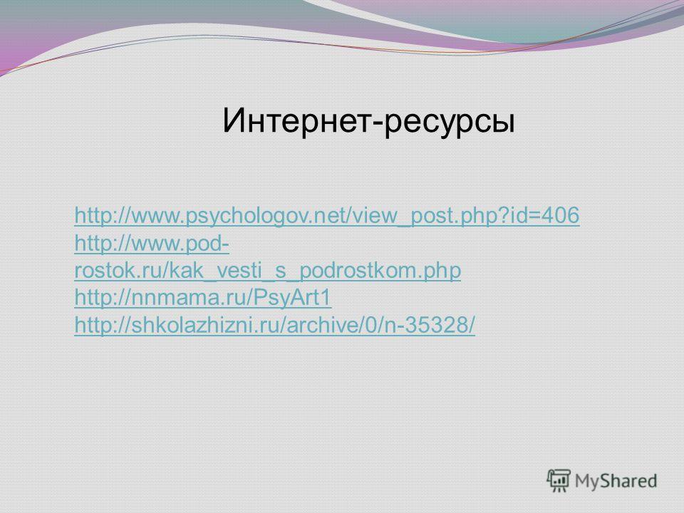 http://www.psychologov.net/view_post.php?id=406 http://www.pod- rostok.ru/kak_vesti_s_podrostkom.php http://nnmama.ru/PsyArt1 http://shkolazhizni.ru/archive/0/n-35328/ Интернет-ресурсы