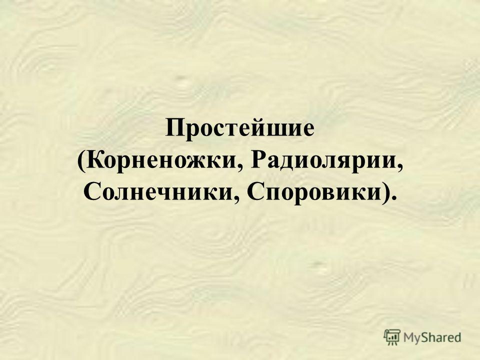 Простейшие (Корненожки, Радиолярии, Солнечники, Споровики).