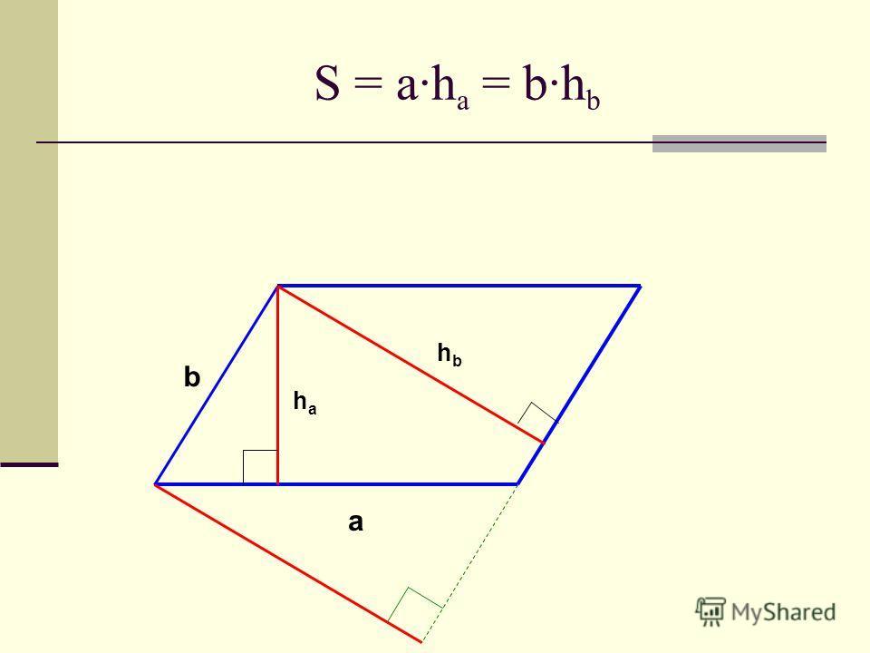 S = a·h a = b·h b hbhb b haha a