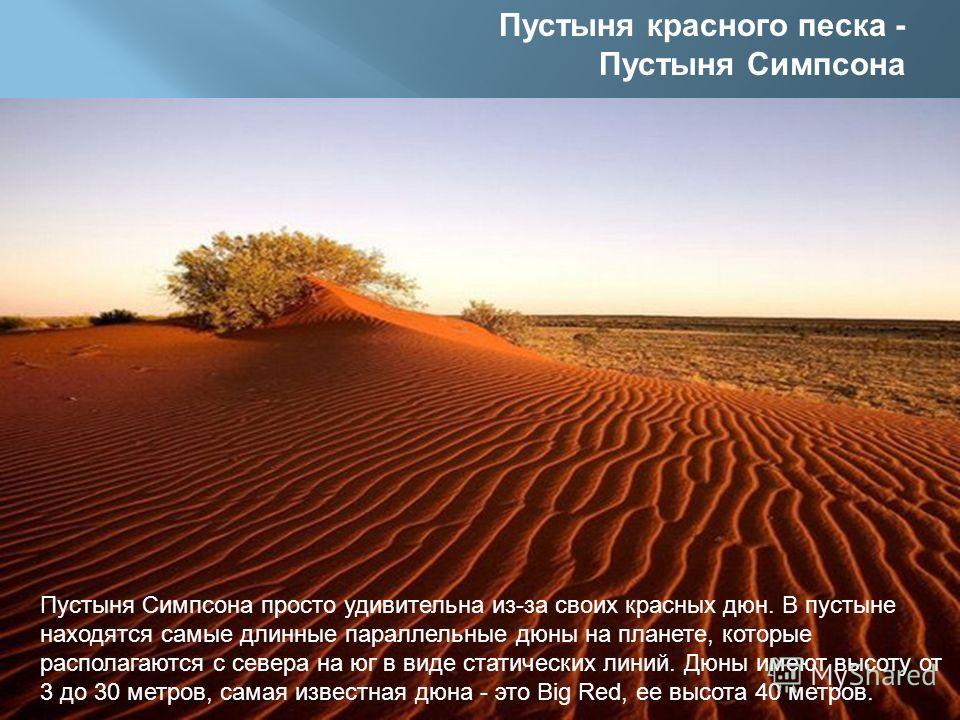Пустыня красного песка - Пустыня Симпсона Пустыня Симпсона просто удивительна из-за своих красных дюн. В пустыне находятся самые длинные параллельные дюны на планете, которые располагаются с севера на юг в виде статических линий. Дюны имеют высоту от