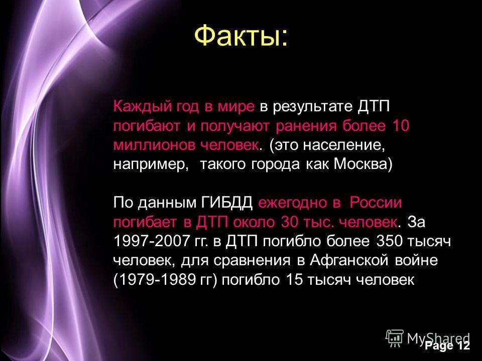 Page 12 Факты: Каждый год в мире в результате ДТП погибают и получают ранения более 10 миллионов человек. (это население, например, такого города как Москва) По данным ГИБДД ежегодно в России погибает в ДТП около 30 тыс. человек. За 1997-2007 гг. в Д