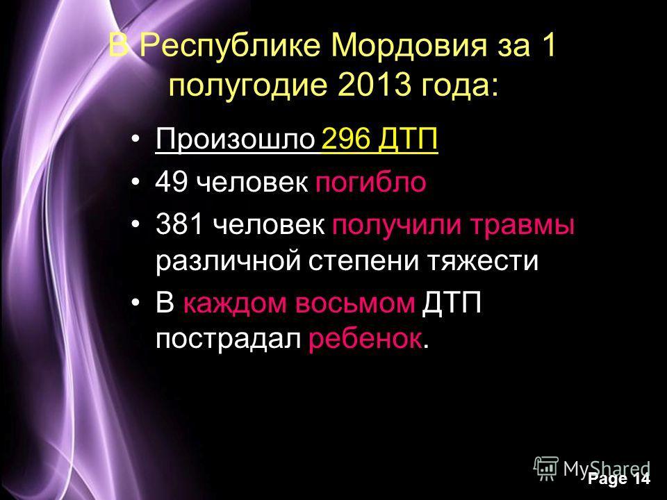 Page 14 В Республике Мордовия за 1 полугодие 2013 года: Произошло 296 ДТП 49 человек погибло 381 человек получили травмы различной степени тяжести В каждом восьмом ДТП пострадал ребенок.