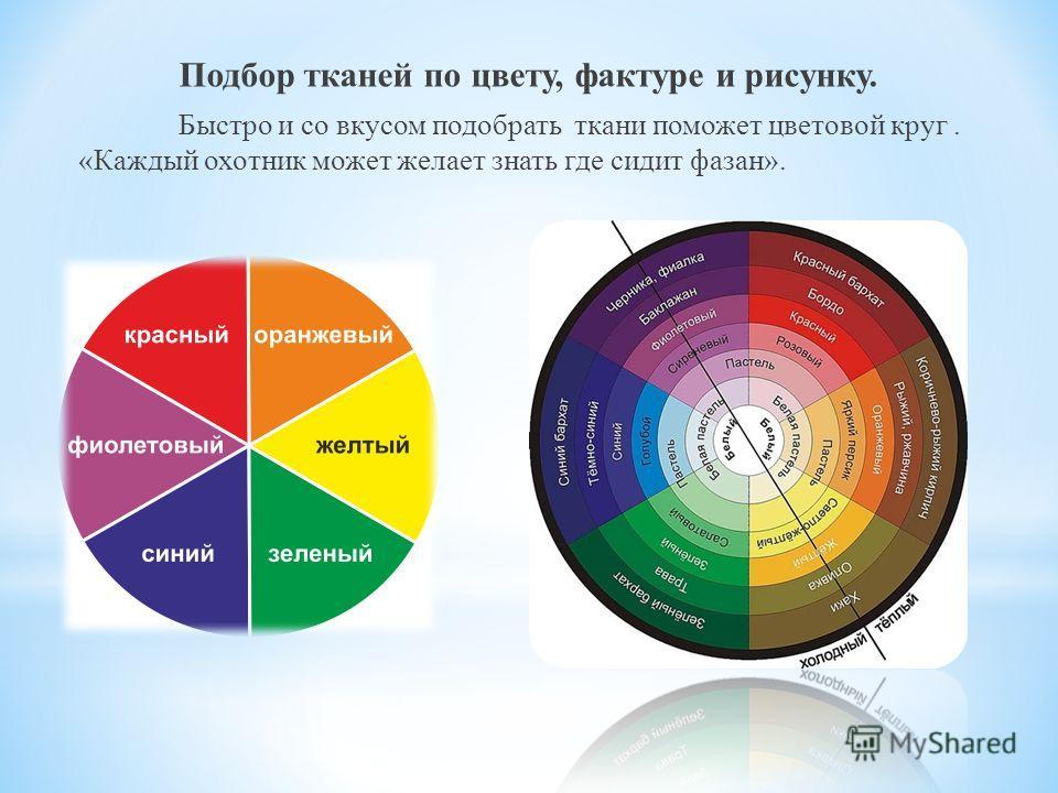 Подбор тканей по цвету, фактуре и рисунку. Быстро и со вкусом подобрать ткани поможет цветовой круг. «Каждый охотник может желает знать где сидит фазан».