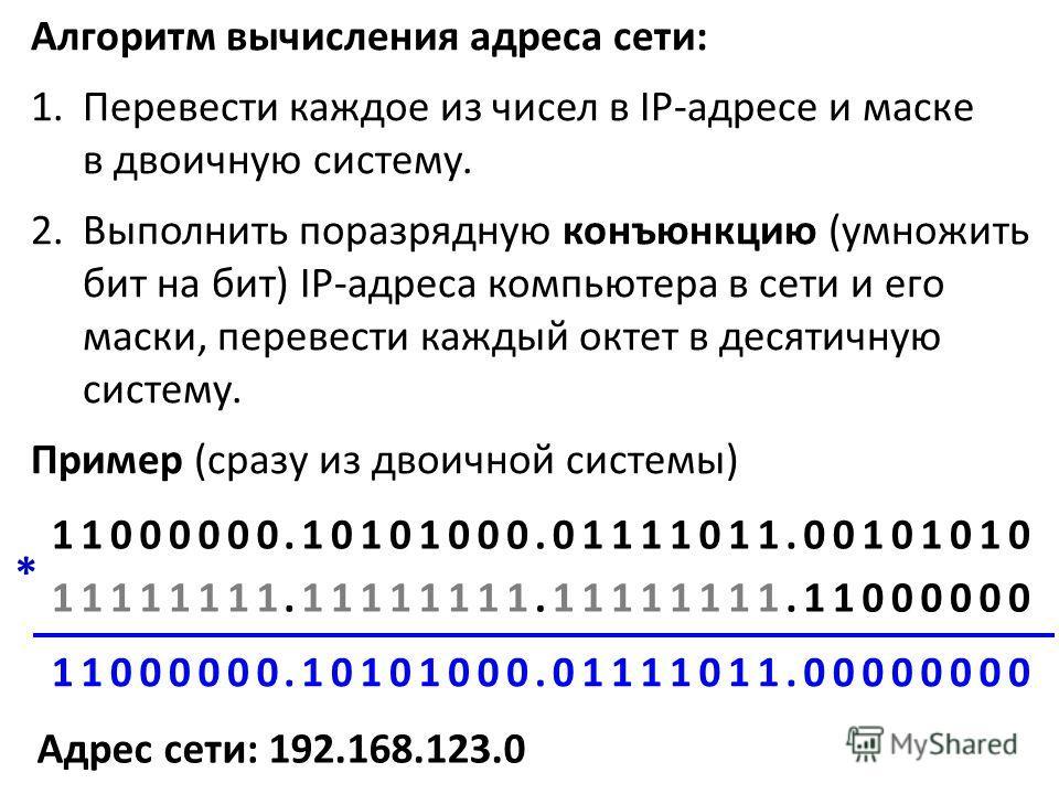 Алгоритм вычисления адреса сети: 1.Перевести каждое из чисел в IP-адресе и маске в двоичную систему. 2.Выполнить поразрядную конъюнкцию (умножить бит на бит) IP-адреса компьютера в сети и его маски, перевести каждый октет в десятичную систему. Пример
