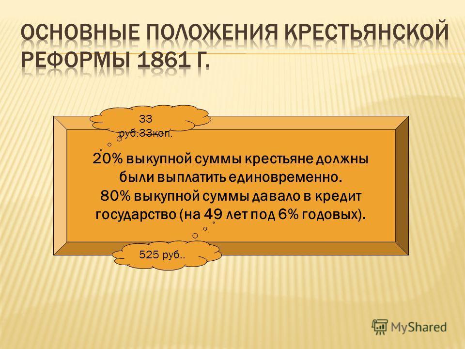 20% выкупной суммы крестьяне должны были выплатить единовременно. 80% выкупной суммы давало в кредит государство (на 49 лет под 6% годовых). 33 руб.33коп. 525 руб..