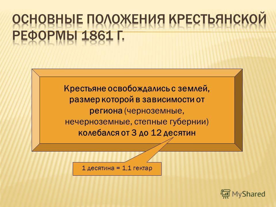 Крестьяне освобождались с землей, размер которой в зависимости от региона (черноземные, нечерноземные, степные губернии) колебался от 3 до 12 десятин 1 десятина = 1,1 гектар